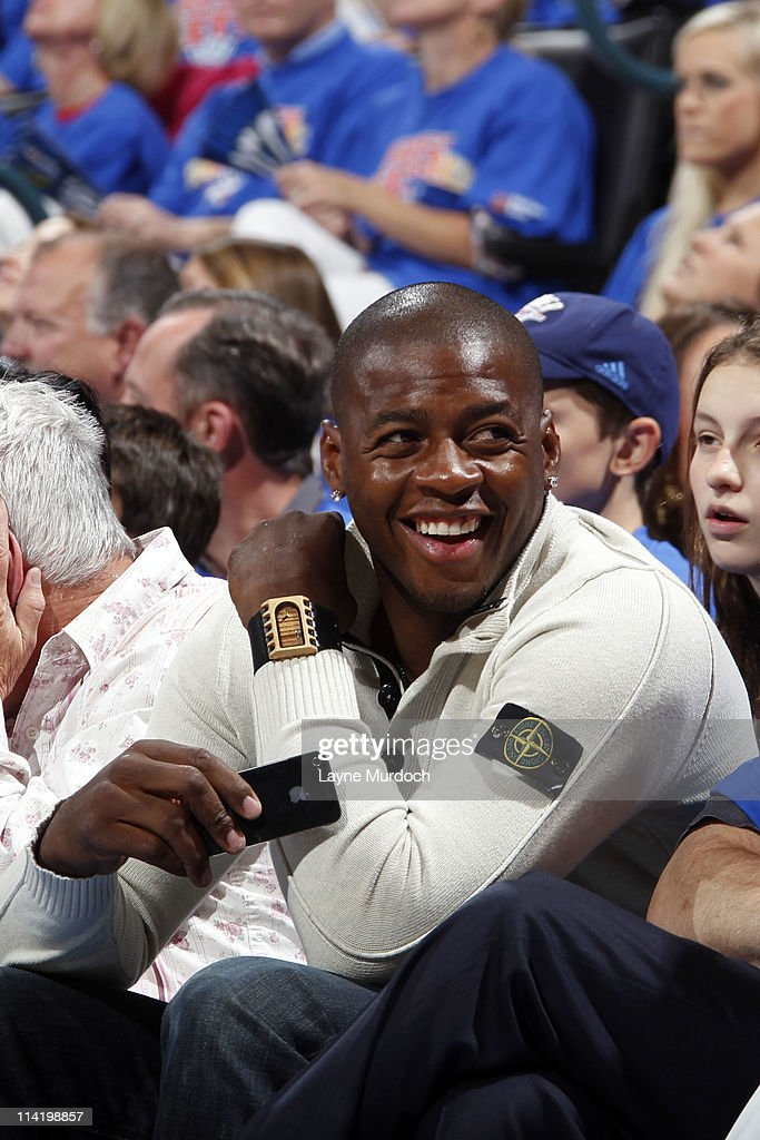 <a gi-track='captionPersonalityLinkClicked' href=/galleries/search?phrase=Desmond+Mason&family=editorial&specificpeople=201810 ng-click='$event.stopPropagation()'>Desmond Mason</a> Former NBA player drafted out of Oklahoma State University attends the game between the Memphis Grizzlies and the Oklahoma City Thunder in Game Seven of the Western Conference Semifinals during the 2011 NBA Playoffs on May 15, 2011 at the Oklahoma City Arena in Oklahoma City, Oklahoma.