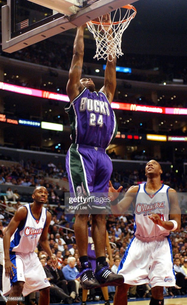 Desmond Mason of the Milwaukee Bucks dunks during the NBA game between the Los Angeles Clippers and the Milwaukee Bucks at the Staples Center in Los...