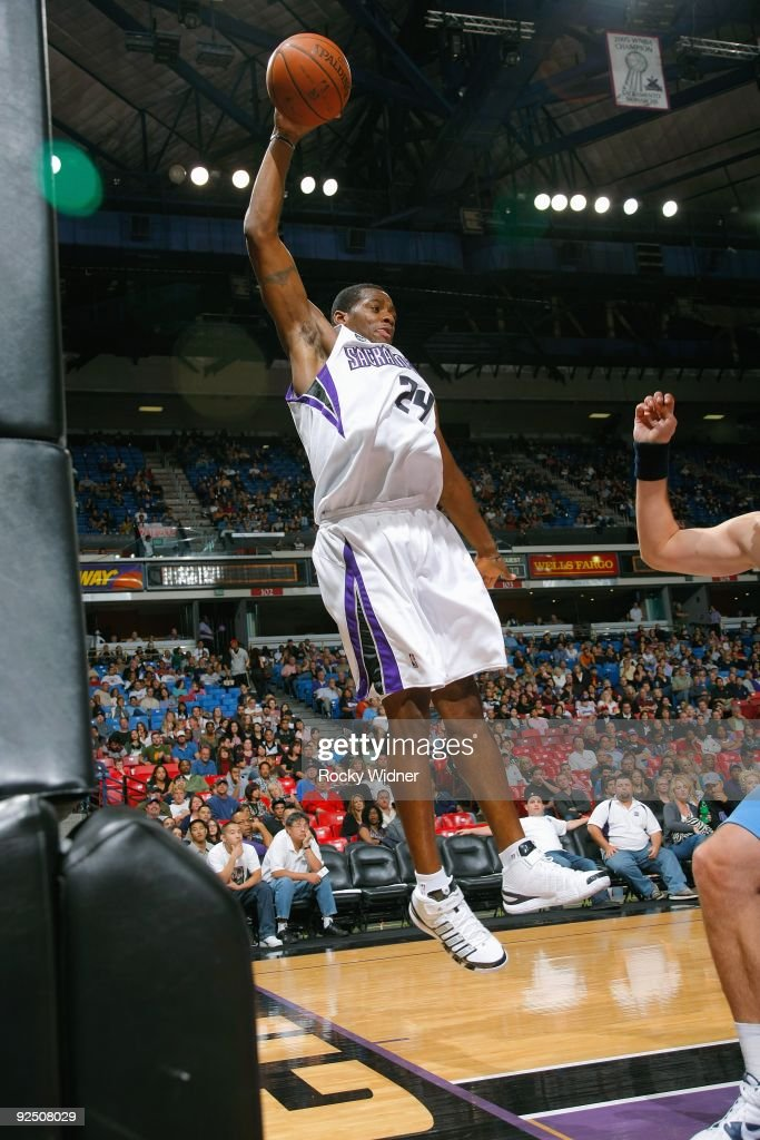 Desmond Mason of the Sacramento Kings rebounds the ball during the preseason game against the Utah Jazz on October 23 2009 at Arco Arena in...