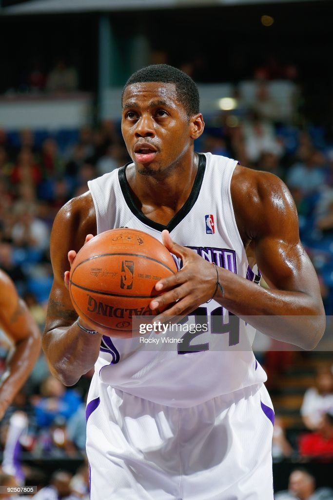 Desmond Mason of the Sacramento Kings shoots a free throw during the preseason game against the Utah Jazz on October 23 2009 at Arco Arena in...