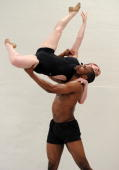 Desmond Richardson the founding artistic director of the Complexions contemporary ballet company lifts Christina Dooling while performing 'Rise' in...