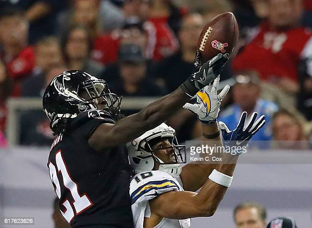 Desmond Trufant of the Atlanta Falcons breaks up a reception intended for Tyrell Williams of the San Diego Chargers at Georgia Dome on October 23...