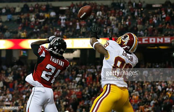 Desmond Trufant of the Atlanta Falcons breaks up a twopoint conversion attempt intended for Pierre Garcon of the Washington Redskins at Georgia Dome...