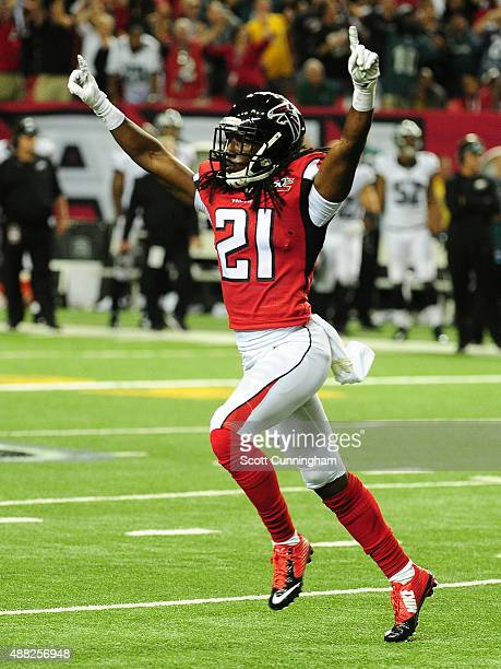 Desmond Trufant of the Atlanta Falcons celebrates after a missed 4th quarter field goal by Cody Parkey of the Philadelphia Eagles at the Georgia Dome...