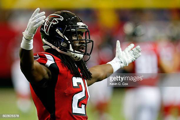 Desmond Trufant of the Atlanta Falcons celebrates during the second half against the Carolina Panthers at the Georgia Dome on December 27 2015 in...