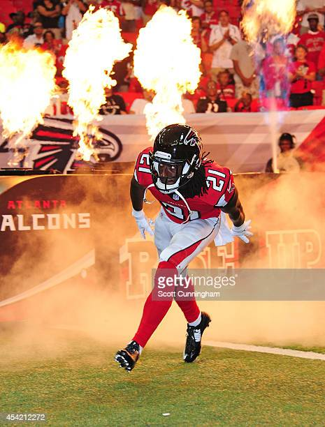 Desmond Trufant of the Atlanta Falcons is introduced before a preseason game against the Tennessee Titans at the Georgia Dome on August 23 2014 in...