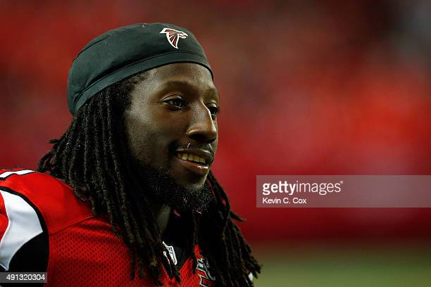 Desmond Trufant of the Atlanta Falcons looks on from the sidelines in the second half against the Houston Texans at the Georgia Dome on October 4...