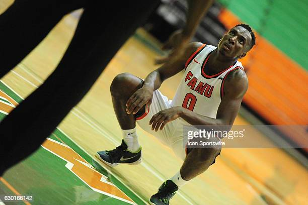 Desmond Williams forward Florida AM University Rattler contemplates a free throw against the Jacksonville University Dolphins on December 17 at Al...