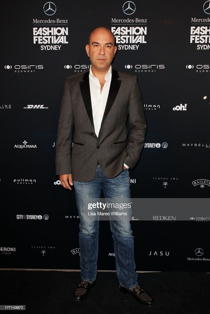 Desogner Bruno Schiavi arrives at the MBFWA Trends show during Mercedes-Benz Fashion Festival Sydney 2013 at Sydney Town Hall on August 21, 2013 in Sydney, Australia.