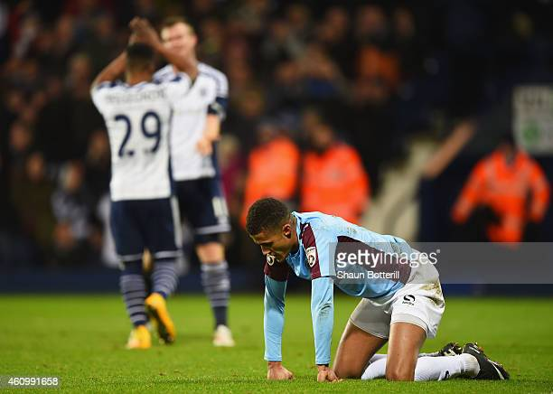Despair for Andrai Jones of Gateshead as Chris Brunt of West Bromwich Albion celebrates with Stephane Sessegnon as he scores their fifith goal during...