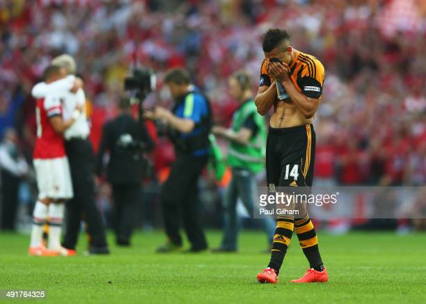 Despair for Jake Livermore of Hull City in defeat after the FA Cup with Budweiser Final match between Arsenal and Hull City at Wembley Stadium on May...
