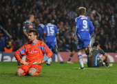 Despair for Morgan De Sanctis of Napoli as Branislav Ivanovic of Chelsea scores their fourth goal during the UEFA Champions League Round of 16 second...