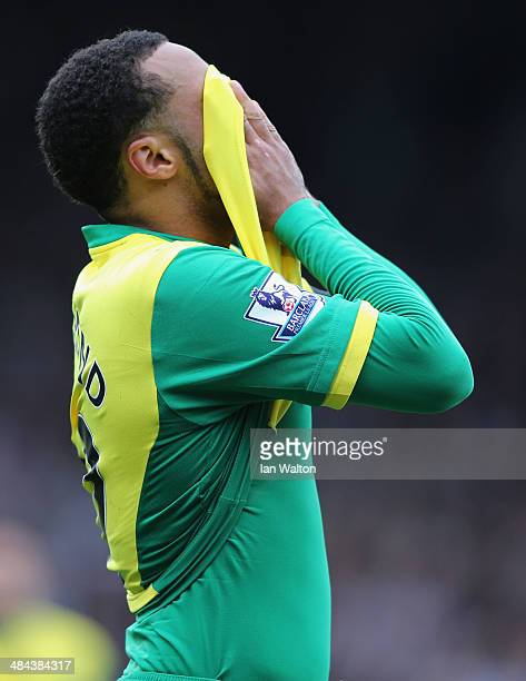 Despair for Nathan Redmond of Norwich City after defeat in the Barclays Premier League match between Fulham and Norwich City at Craven Cottage on...