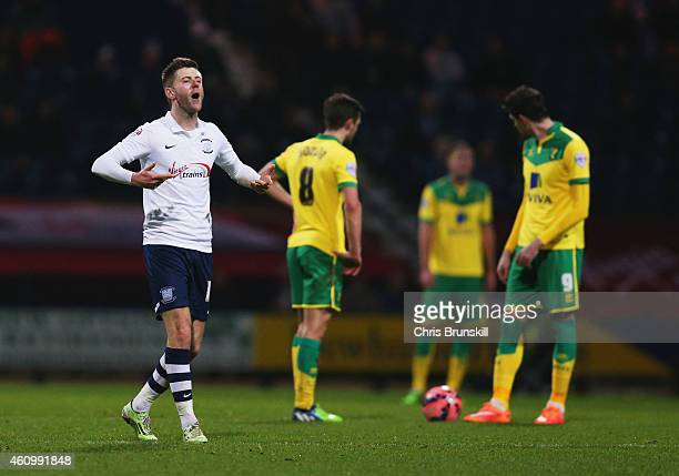 Despair for Norwich City players as Paul Gallagher of Preston North End celebrates scoring their first goal during the FA Cup Third Round match...