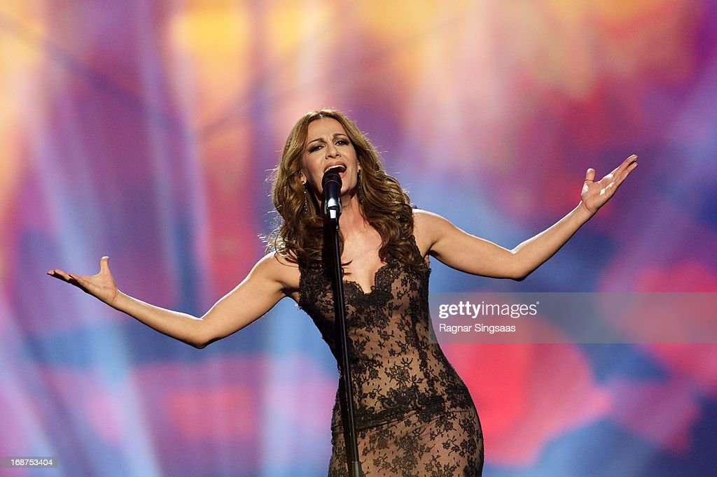 Despina Olympiou of Cyprus performs on stage during the first semi final of the Eurovision Song Contest 2013 at Malmo Arena on May 14, 2013 in Malmo, Sweden.