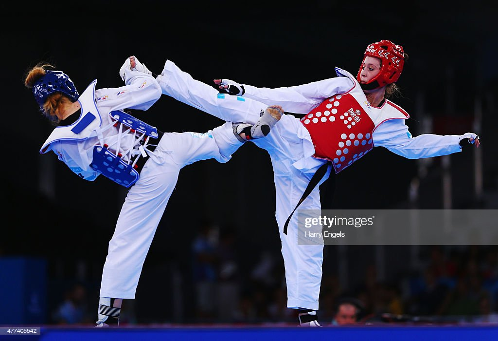 Despina Pilavaki of Cyprus and Jade Jones of Great Britain compete in the Women's Taekwondo 57kg Preliminary round during day five of the Baku 2015...