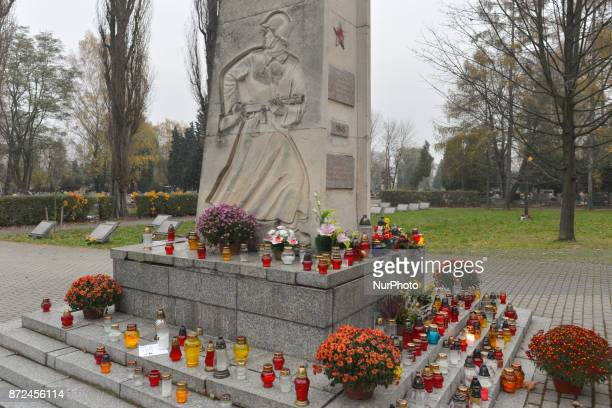 Despite diplomatic issues between Warsaw and Moscow Poles honor Red Army troops killed in WWII A general view of graves of the Soviet army soldiers...