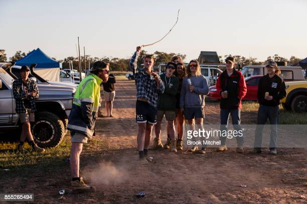 Despite drinking heavily Darcy Craig from Swan Hill attempts to whip a lit cigarette from his mate Sam Milner's mouth at dawn on day one of the 2017...