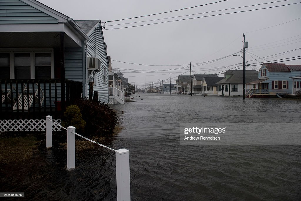 Despite low tide a number of streets remained flooded during a blizzard January 23 2016 in North Wildwood New Jersey A major snowstorm is upon the...