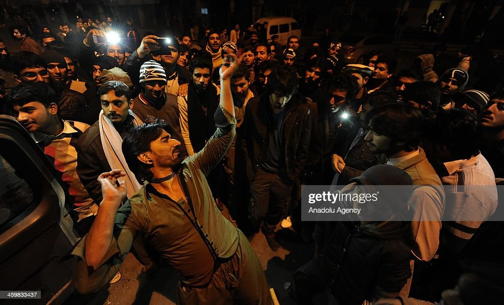 Despite the percutions against the probable terrorist attacks which largely cancelled th new year celebrations in Pakistan, a group of young Pakistanis gather to celebrate the new year by dancing and the fire works, December 31, 2014.