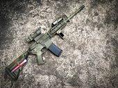 Dessert assault rifles on the ground