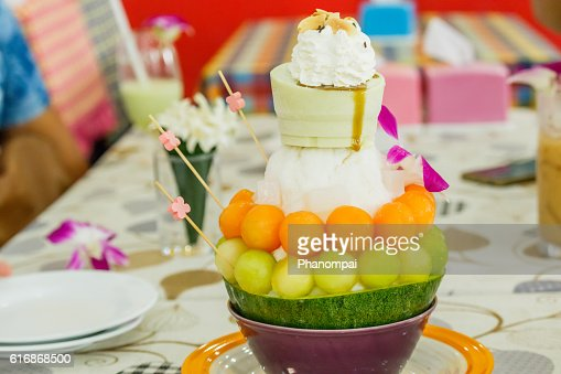 Dessert, Cantaloupe melon Ice cream or Bingsu. : Stock Photo
