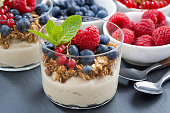 dessert with sweet  milk cream, fresh berries and muesli, closeup, horizontal