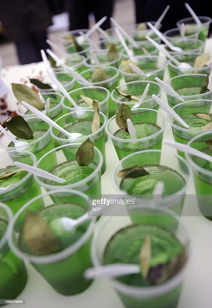 Desserts made with coca leaves are seen during a celebration for the reincorporation of Bolivia to the UN Convention Against Illicit Traffic in Narcotic Drugs in La Paz on January 14, 2013. 'The coca leaf is not any more seen as cocaine (..), it is a victory of our identity' said Bolivian President Evo Morales. AFP PHOTO/Jorge Bernal