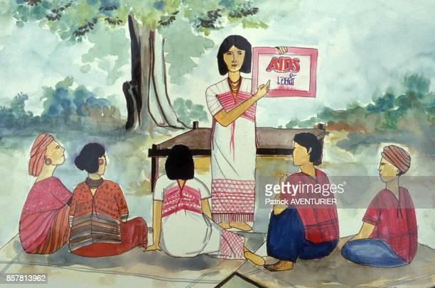 Dessin pour une campagne de protection contre le sida en juin 1994 en Thailande