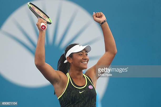 Destanee Aiava of Australia celebrates winning her match against Bethanie MattekSands of the United States on day three of the 2017 Brisbane...