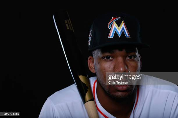 Destin Hood of the Miami Marlins poses for a photograph at Spring Training photo day at Roger Dean Stadium on February 18 2017 in Jupiter Florida