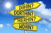 "Yellow metal signpost with four arrows - ""dorthin?"", ""dahin?"", ""wohin?"", ""hierhin?"" (German)/ ""overe there?"", ""where to?"", ""where?"", ""where from?"" (English)."
