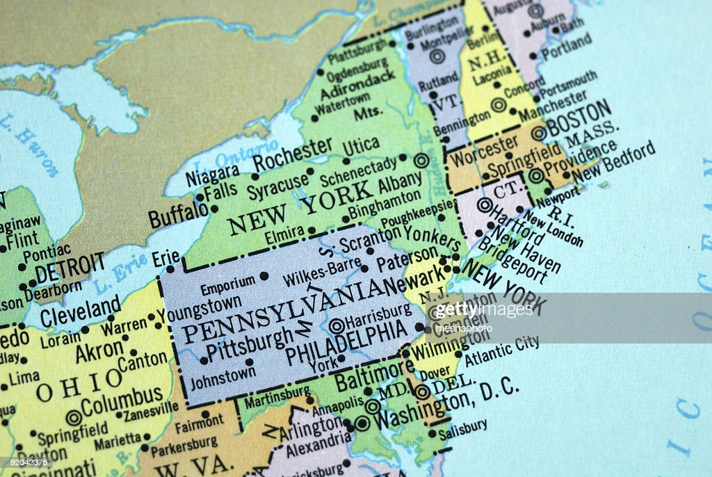 Us Cities On Map Series Cleveland Ohio Stock Photo Getty Images - Usa map cleveland