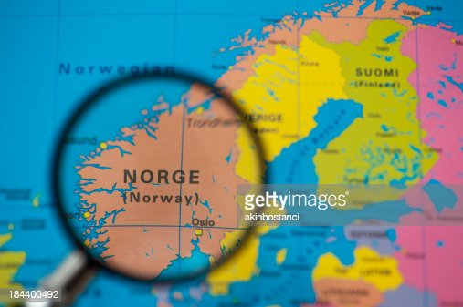Outline Map Of Norway Stock Photo Getty Images - Norway map on globe