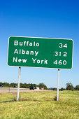 Destination road sign, New York