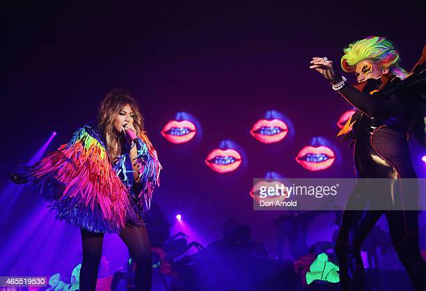 Destiny and Jessica Mauboy perform during Mardi Gras Party at the Entertainment Quarter on March 7 2015 in Sydney Australia