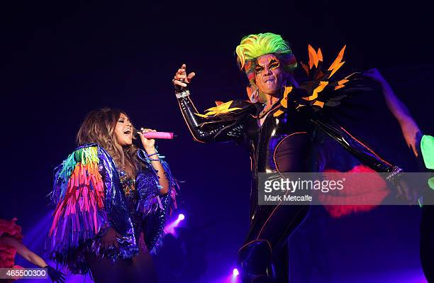 Destiny Jessica Mauboy perform on stage during Mardi Gras Party at the Entertainment Quarter on March 7 2015 in Sydney Australia