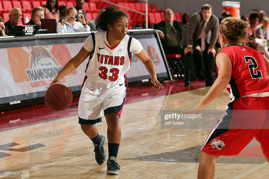 Destiny Lavita-Stephens #33 of the Detroit Titans dribbles against Brittany Webb #2 of the South Alabama Jaguars at The Matadome on November 24, 2012 in Northridge, California. South Alabama defeated Detroit 59-56.
