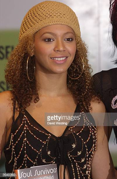 Destiny's Child singer Beyonce Knowles attends the launch of the band's autobiography 'Soul Survivors' at Selfridges in London on June 19 2002 The...