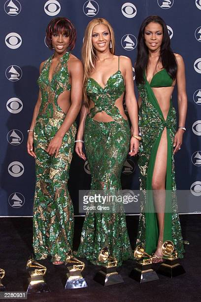Destiny's Child with their Grammys backstage at the 43rd Annual Grammy Awards at Staples Center in Los Angeles Wednesday Feb 21 2001 Photo by Scott...