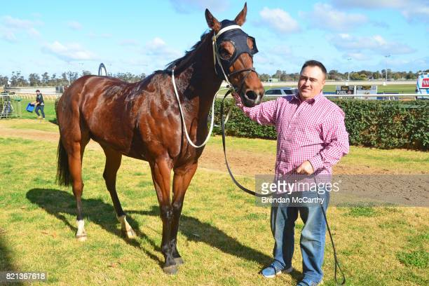 Destiny's Revenge and Brian Gentle after winning the The Bottle O 3YO Maiden Plate at Swan Hill Racecourse on July 24 2017 in Swan Hill Australia