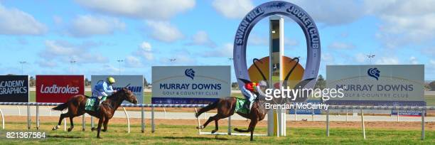 Destiny's Revenge ridden by Mark Pegus wins the The Bottle O 3YO Maiden Plate at Swan Hill Racecourse on July 24 2017 in Swan Hill Australia