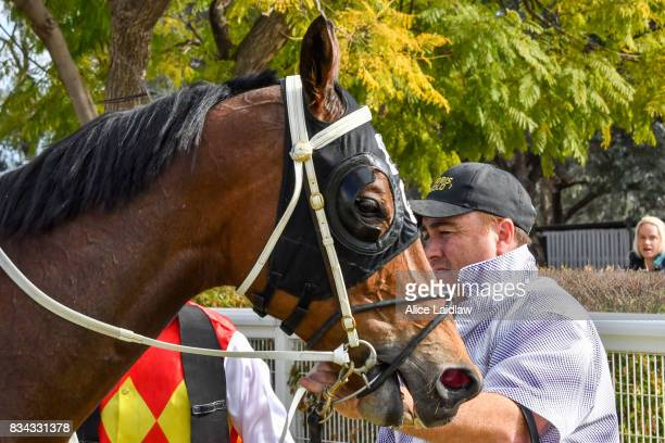 Destiny's Reward after winning the Congratulations Bounty Belle BM64 Handicap at Mildura Racecourse on August 18 2017 in Mildura Australia
