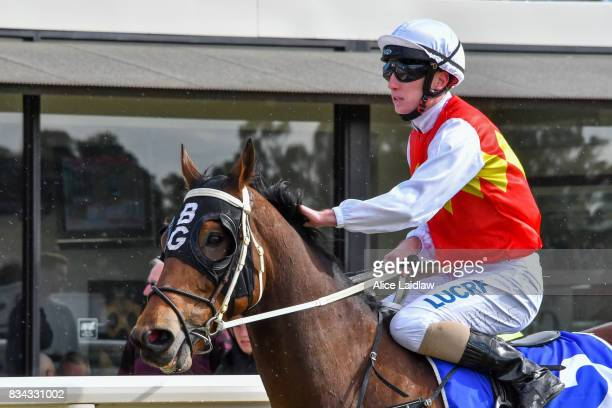 Destiny's Reward ridden by Ryan Hurdle returns to scale after winning the Congratulations Bounty Belle BM64 Handicap at Mildura Racecourse on August...
