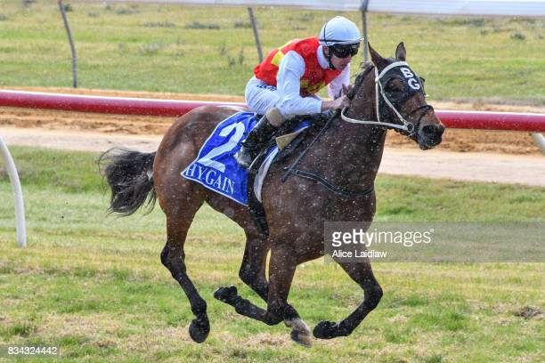 Destiny's Reward ridden by Ryan Hurdle wins the Congratulations Bounty Belle BM64 Handicap at Mildura Racecourse on August 18 2017 in Mildura...