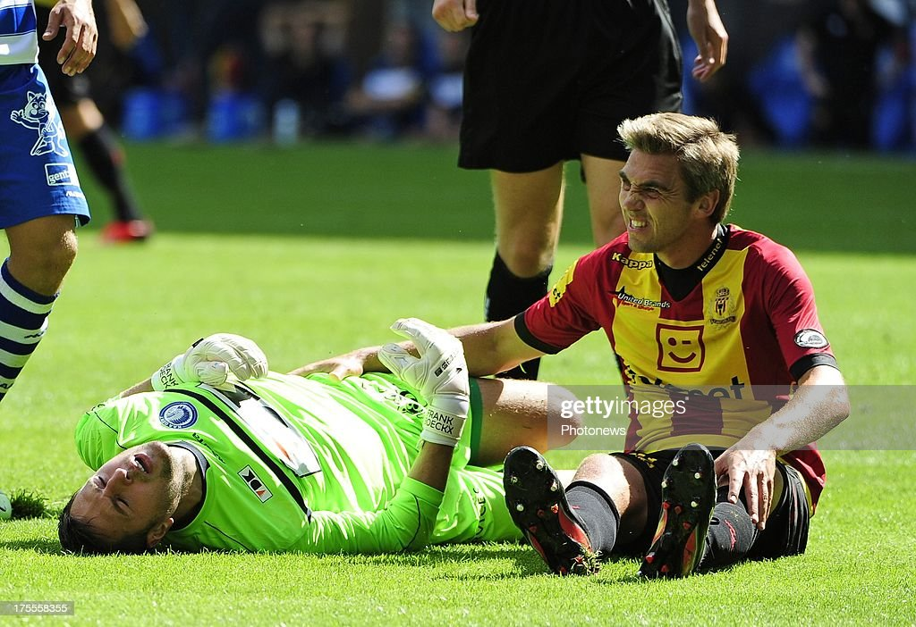 Destorme David of KV Mechelen and goalkeeper Frank Boeckx of KAA Gent during the Jupiler League match between KAA Gent and KV Mechelen on August 04, 2013 in the Ghelamco stadium Gent, Belgium. (Photo by Philippe Crcohet / Photonews