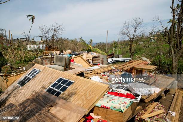 A destoyed home on September 23 2017 in Wesley Village Dominica Hurricane Maria inflicted catastrophic damages and at least 15 deaths in this...