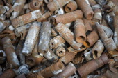 Destroyed ammunition is stored in a container during a press day at the GEKA facility on March 5 2014 in Munster Germany GEKA is federallyfunded and...