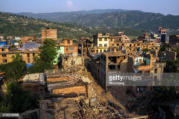 Destroyed and damaged buildings stand stand in Sankhu Kathmandu Valley Nepal on Monday May 25 2015 Nepal's gross domestic product will probably grow...