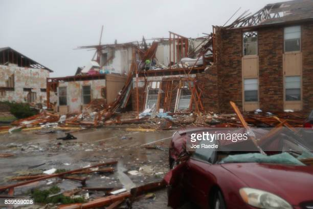 A destroyed apartment complex is seen after Hurricane Harvey passed through on August 26 2017 in Rockport Texas Harvey made landfall shortly after 11...